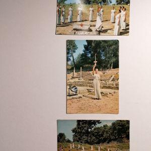 ΟΛΥΜΠΙΑΚΗ ΦΛΟΓΑ ΑΦΗ (3 καρτ ποστάλ) 1975