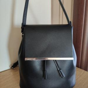ZARA Backpack Μαύρο Δερματίνη