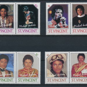 MICHAEL JACKSON 1985 STAMPS ST VINCENT SET OF 4 PAIR MNH