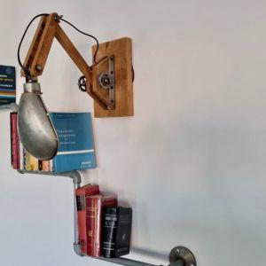 Σύνθεση Φωτιστικό & Ραφιέρα Τοίχου industrial