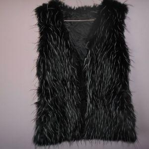 Μαύρο γούνινο αμάνικο γιλέκο Size L Polyester