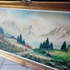 Πίνακας ζωγραφικής με θέμα Σπίτι στο βουνό