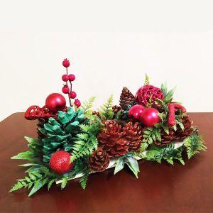 Χειροποίητο χριστουγεννιάτικο επιτραπέζιο στολίδι με reso κεράκι