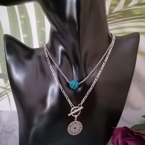 Γυναικείο ατσάλινα κολιέ με τιρκουάζ κεραμική πέτρα τύπου λάβα και με 12 ζωδιακός κύκλος κρεμαστό