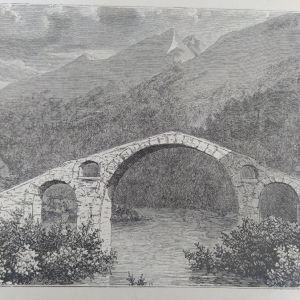 1880 Γεφύρι στον Ευρώτα ποταμό ξυλογραφία πελοπονησος