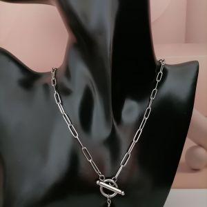 Γυναικείο ατσάλινη οβάλ αλυσίδα κολιέ με δάκρυ πέρλα κρεμαστό και κούμπωμα ΟΤ μπροστά