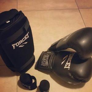 Πλήρης εξοπλισμός (γάντια, επικαλαμίδες, προστατευτικά χερίων, σορτσάκι) για kick boxing