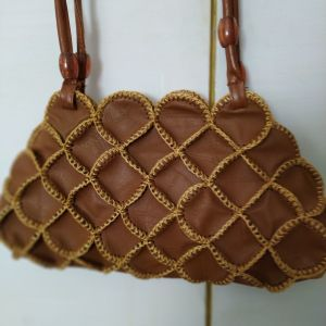 Vintage χειροποίητη δερμάτινη τσάντα.
