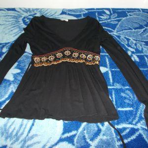 Μαύρη boho μπλούζα Μ