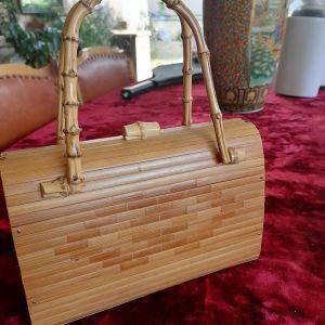 Vintage ξύλινη γυναικεία τσάντα