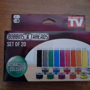 Σετ 20  καρουλακια και μπομπινες στα βασικά χρώματα για ραπτομηχανή