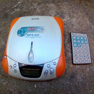 NAPA φορητό CD, MP3 & VCD player με τηλεκοντρολ.