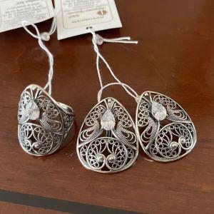 Χειροποίητο Ασημένιο Σετ. Κοσμήματα  Δαχτυλίδι & Σκουλαρίκια Ασημί 925