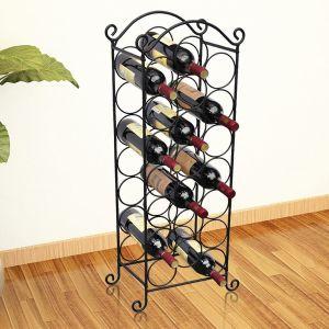 vidaXL Ραφιέρα Κρασιών για 21 Μπουκάλια Μεταλλική-50206