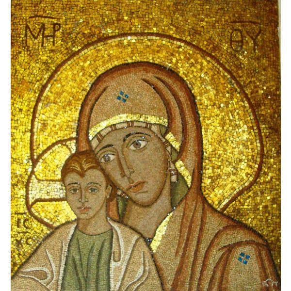 Unique Orthodox Mary Baby Jesus Christ greek Mosaic