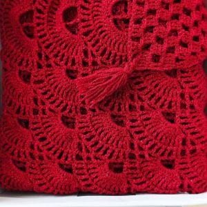 Εσάρπα μεγάλη κατακόκκινη με μεταλλικές ίνες