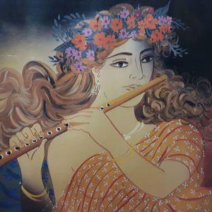 ΣΤΑΘΌΠΟΥΛΟΣ αφίσα με υπέροχη απεικόνιση κοπέλα με φλογερα του γνωστού έργου του.