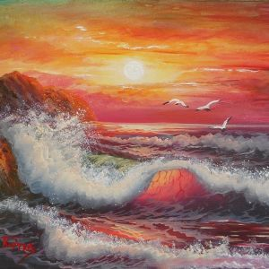 Πίνακας ζωγραφικής (Θαλασσογραφία #09) Ελαιογραφία σε καμβά 26.8X21.7cm