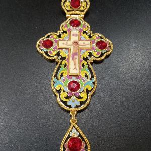 Επιστήθιος Ιερατικος Σταυρός με σμάλτο 17×7.5 εκ