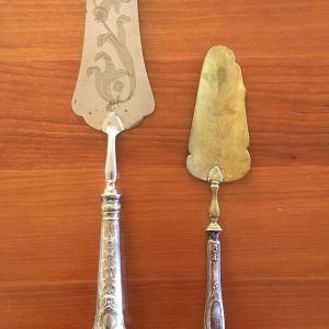 Επάργυρες vintage σπάτουλες σερβιρίσματος για τάρτα με σχέδιο λουλουδιού