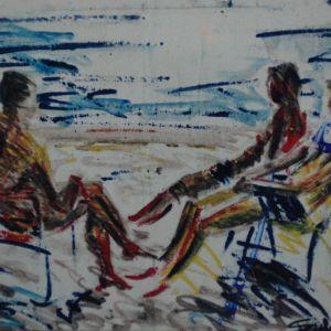 ΑΠΟΖΑΡΙΣΤΑ εκ του φυσικου στην παραλια . ζωγραφικη απ το ζωγραφο αντωνη στεφανακο