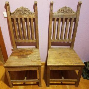 2 καρεκλες χειροποιητες μοναστηριακες μονο με ξυλο φτιαγμενες