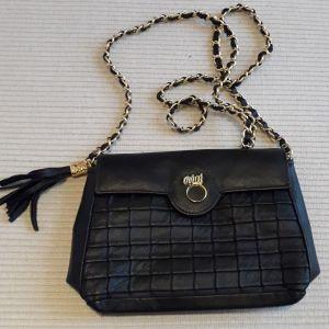 Τσάντα δερμάτινη μαύρη