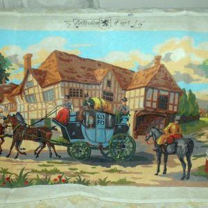 Ταχυδρομική άμαξα στον Αμερικάνικο Νότο τυπωμένος πίνακας σε καμβά για κέντημα