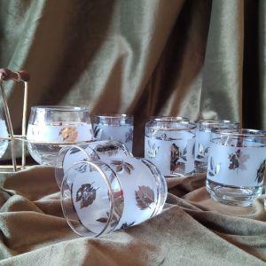 Old-Fashioned Vintage Libbey Starlite : 8  Ποτήρια, Ζαχαριέρα & Γαλατιέρα σε βάση με χερούλι