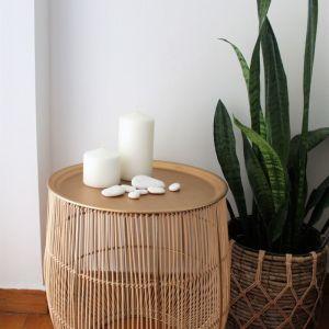 Βοηθητικό τραπεζάκι χρυσό από μπαμπού | Boho bamboo side table with matte bronze gold surface