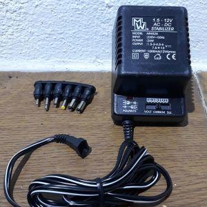 Σταθεροποιημένος Μετασχηματιστής MW 1000 mΑ με ρύθμιση 1,5-3-4,5-6-7,5-9-12 volt και 6 διαφορετικά βύσματα