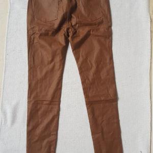 Αφορετο παντελονι  απο δερματινη μπεζ Νο46