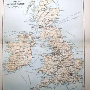 Bartholomew 1860 Χάρτης Σιδηροδρομικών Γραμμών Βρετανικών Νήσων