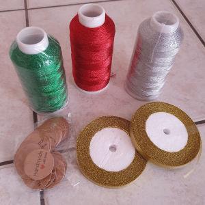 glittering yarn and ribbon