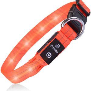 Κολάρο σκύλου Αδιάβροχο Επαναφορτιζόμενο LED Super Bright 3 S-2(28-40cm,2cm) Orange