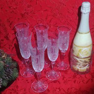 """Ποτήρια σαμπάνιας Rogaska """" Alexander"""" 1950, κρύσταλλο Yugoslavia."""