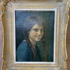 Karl Ewald Olszewski (1884 - 1965) Portrait of a young woman Πολύ ομορφος παλαιός πίνακας ζωγραφικής