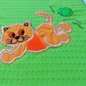 κουβέρτακι πικε πράσινο γατακι