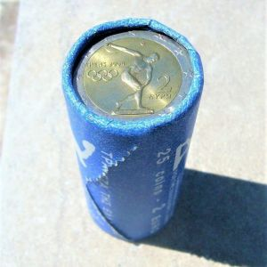 GREECE 2 EURO 2004 ATHENS OLYMPIC GAMES COMMEMORATIVE COIN BANK OF GREECE OFFICIAL ROLL OF 25 COINS KM# 209 DISCOBOLUS UNCIRCULATED BU