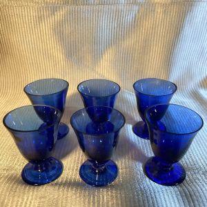 ποτηράκια γυάλινα παλαιά φυσητα μπλε εξάδα !