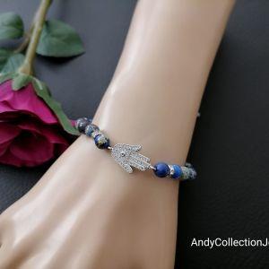 Unisex βραχιόλι με ορείχαλκο στοιχείο χέρι με ζιρκόνια, αιματίτη και φυσικές μπλε ίασπις  πέτρες