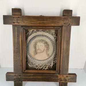 Εικόνα ξύλινη Ιησούς Χριστός εποχής 1950