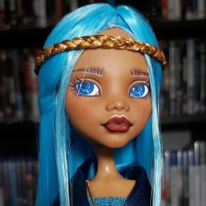 OOAK custom repaint: Chic Blue Romantic Art Doll - Σικάτη Μπλε Ρομαντική Κούκλα Τέχνης