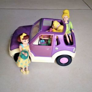 Polly pocket αμάξι και κούκλες με ρούχα (αρχές 2000)