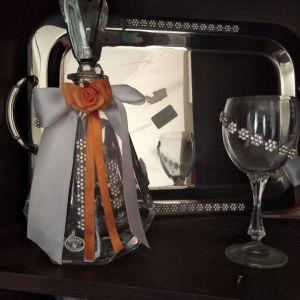 καράφα με ποτήρι και δίσκο