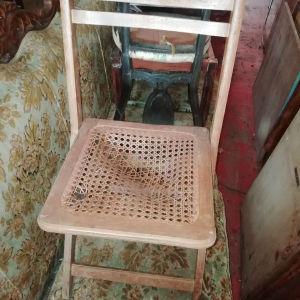 πτυσσόμενες καρέκλες(5) με πλεκτή ψάθα, Βιέννης, τέλος του 19ου αιώνα, οι ψαθες πρέπει να αποκατασταθουν, Πωλουνται.