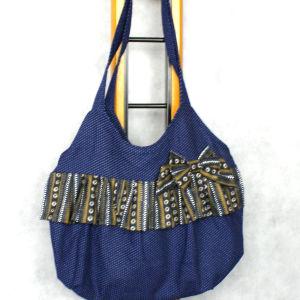 Χειροποίητη τσάντα vintage πουά ύφασμα 1960s