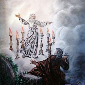 Η Αποκάλυψη στον Ιωάννη , ελαιογραφία σε μουσαμά 76Χ105 εκ.