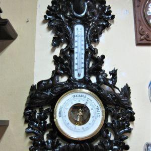 Βαρόμετρο θερμόμετρο ξυλόγλυπτο