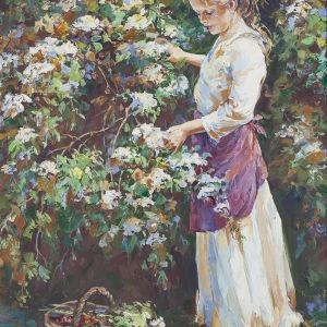 """Γνήσιος πίνακας ζωγραφικής με θέμα """"Το κορίτσι στον κήπο"""""""